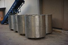 Stainless steel container tank for liquid solvent Stock Photo
