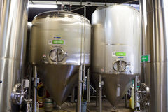 Stainless Steel Containers at Oakshire Brewing stock photos