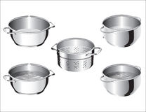 Stainless Steel Cook Pans. Four shiny stainless steel cooking pots with handles and a colander. Two pots contain water. Illustration isolated on white Stock Images