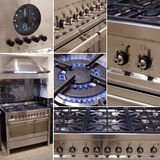 Stainless steel cooker kitchen collage. Collage of images showing details of a stainless steel range cooker with matching extractor hood Royalty Free Stock Images