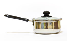 Stainless steel cooking deep stewing pan Royalty Free Stock Photography