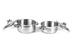 Stainless steel cooking pans Stock Image
