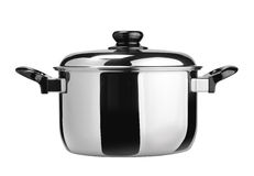 Stainless steel cooking pot. Isolated on white stock image