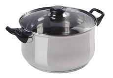 Stainless steel cooking pot with glass top cover Stock Photography
