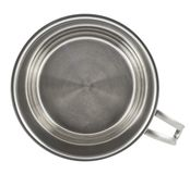 Stainless steel cooking pot isolated. Stainless steel cooking pot with a handle isolated over white background Royalty Free Stock Image