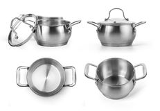 Stainless steel cooking pot Royalty Free Stock Photo