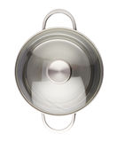 Stainless steel cooking pot pan isolated over white background Stock Photos