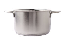 Stainless steel cooking pot pan isolated over white background stock images