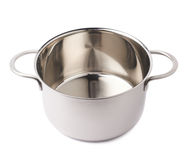 Stainless steel cooking pot pan isolated over white background. Stainless steel metal cooking pot pan over isolated white background Stock Image
