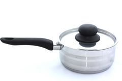 Stainless steel cooking pot  on white. Background Royalty Free Stock Photo