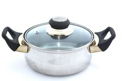Stainless steel cooking pot  on white. Background Stock Photography