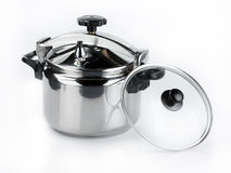 Stainless steel cooking pots Royalty Free Stock Photography