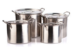 Stainless steel cooking pots Stock Photo