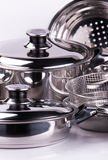 Stainless steel cooking pots Royalty Free Stock Photos