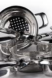Stainless steel cooking pots Royalty Free Stock Images