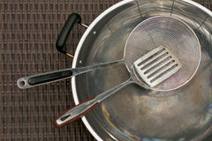 Stainless steel cooking utensils kitchenware and w Royalty Free Stock Photo