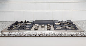 Stainless Steel Cooktop on Granite Countertop Stock Photos