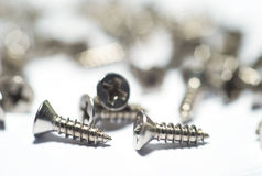 Stainless Steel Countersunk Screw. Stainless Steel Screw on white background with Philip Head Stock Images