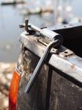 Stainless steel DIY latch bolt lock for mini truck back door Stock Photo