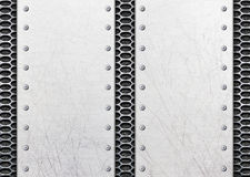 Stainless steel dots on metal footpath as tactile paving Royalty Free Stock Image