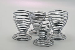 Stainless steel egg cups Royalty Free Stock Photography