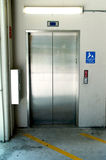 Stainless steel elevator doors Royalty Free Stock Images