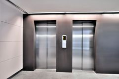 Stainless Steel Elevators Stock Photography