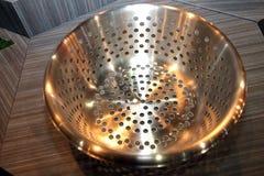 Stainless steel enamelware. Royalty Free Stock Photos
