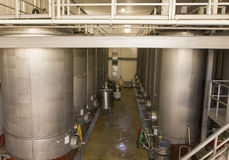 Stainless steel fermentation tanks at the vineyard Royalty Free Stock Photography