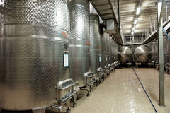 Stainless steel fermenters Royalty Free Stock Photo