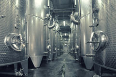 Stainless steel fermenters used to make wine Stock Photo