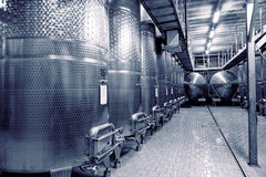Stainless steel fermenters for wine, toned Royalty Free Stock Image