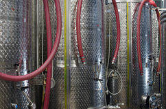 Stainless steel fermenters in a winery Royalty Free Stock Image