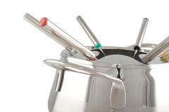 Stainless steel fondue maker Royalty Free Stock Photo