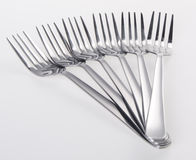 Stainless steel fork. Fork, silver fork on white background Royalty Free Stock Images