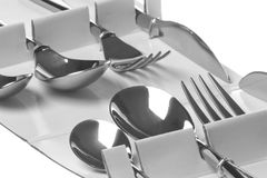 Stainless Steel Forks, Spoons and Knives Royalty Free Stock Images