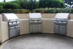 Stainless steel gas BBQ grills Royalty Free Stock Image