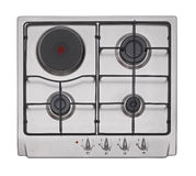 Stainless steel gas-electric hob Stock Photo