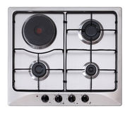 Stainless steel gas hob. Isolated on white background royalty free stock images