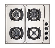 Stainless steel gas hob Stock Photos