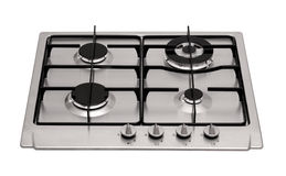Stainless steel gas hob Royalty Free Stock Image