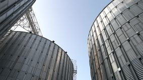 Stainless steel grain bins, up view.