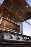 Clean Outdoor Kitchen Grill on Patio Stock Photo