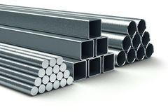 Stainless steel. Group of rolled metal. Stock Photography