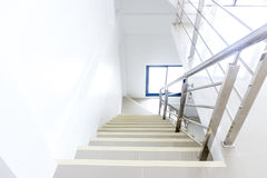 Stainless steel handrails. Architecture home interior design staircase stainless steel handrails stock photography