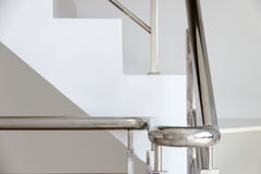 Stainless steel handrails. Architecture home interior design staircase stainless steel handrails royalty free stock images