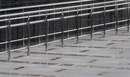 Stainless steel handrails. Are installed on the small bias stock images