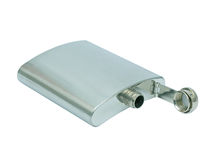 Stainless steel hip flask Stock Photography
