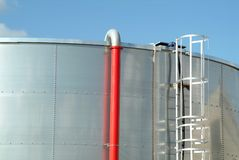 Stainless steel industrial tank of fuel Stock Image