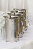 Stainless steel jug of cold water. Royalty Free Stock Images